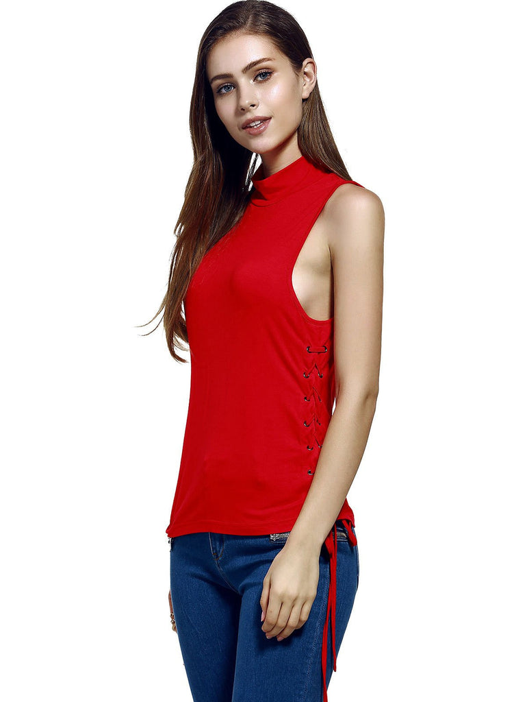 Women's Trendy Stand Neck Pure Color Lace-Up Tank Top