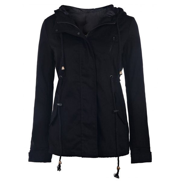 Stylish Hooded Long Sleeve Solid Color Zip Up Women's Hoodie Jacket