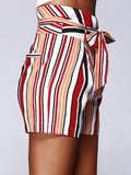 Fashion Color Block Stripe High Waist Bandage Shorts For Woman