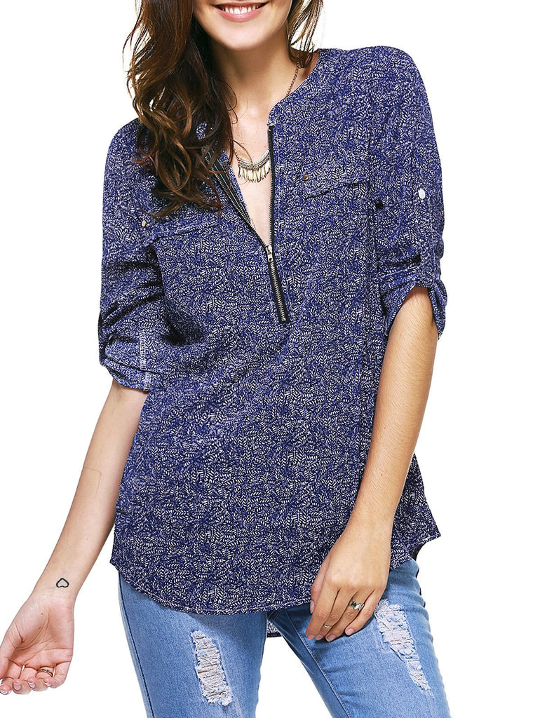 Casual 3/4 Sleeve Zipper Fly Embellished Women's Print Blouse