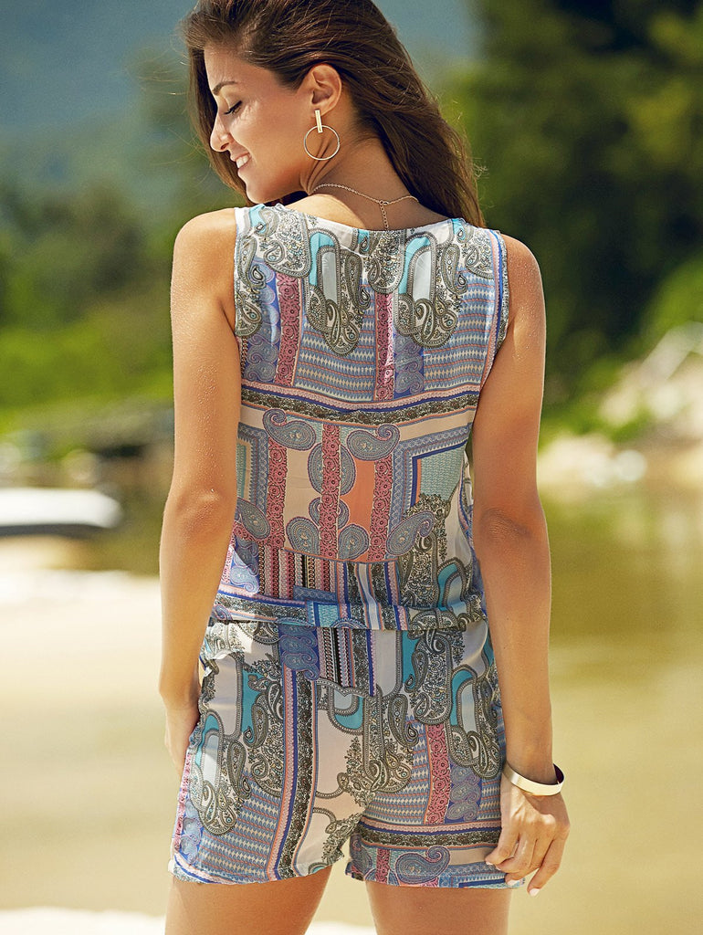 Trendy V Neck Sleeveless Abstract Print Women's Zippered Romper