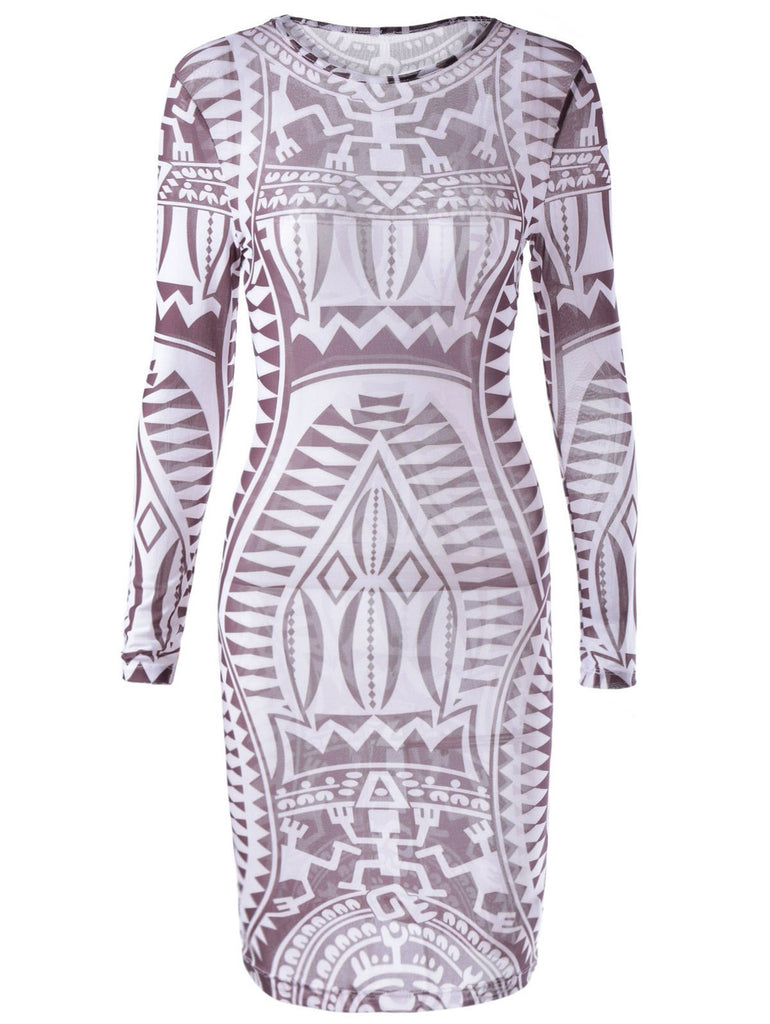 Fashionable Printing Long Sleeves Dress For Women