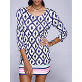 Chic Scoop Neck Geometric With Stripe Print Mini Dress For Women