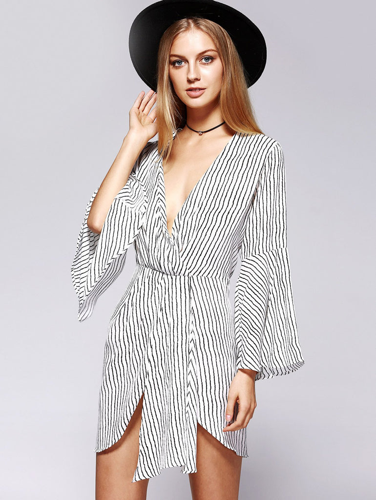 Graceful Plunge Neck Bell Sleeve Stripe Wrap Slit Dress For Women