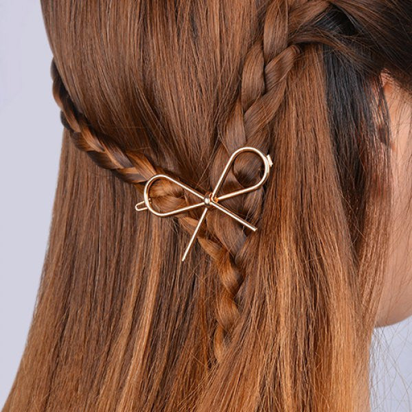 Simple Hollow Out Solid Color Bowknot Hairpin For Women
