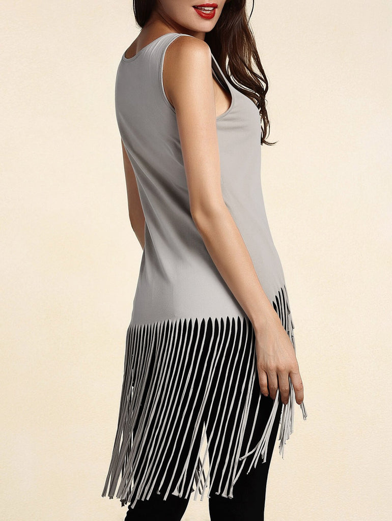 Stylish U Neck Fringed Tank Top For Women