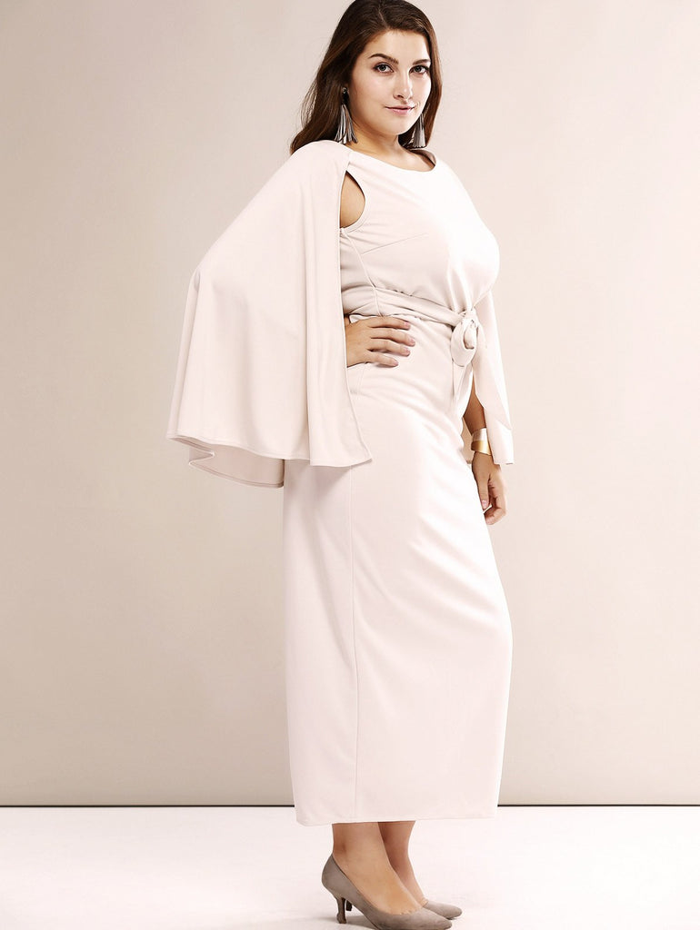 Oversized Elegant Cape Sleeve Open Back Dress