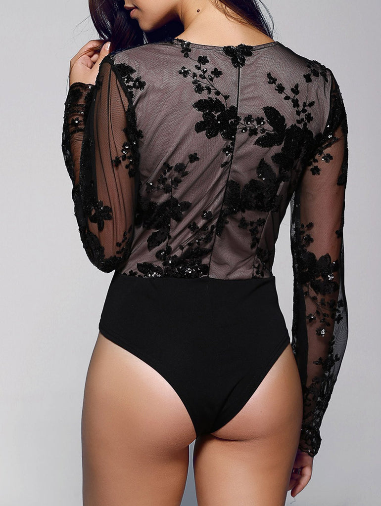 Stylish Plunging Neck Long Sleeve Floral Sequined Women's Bodysuit