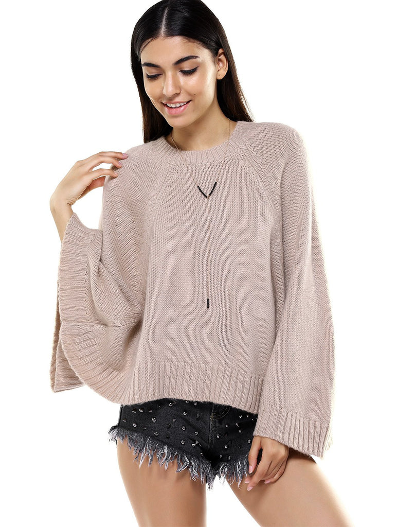 Round Neck Bat Sleeve Loose-Fitting Sweater