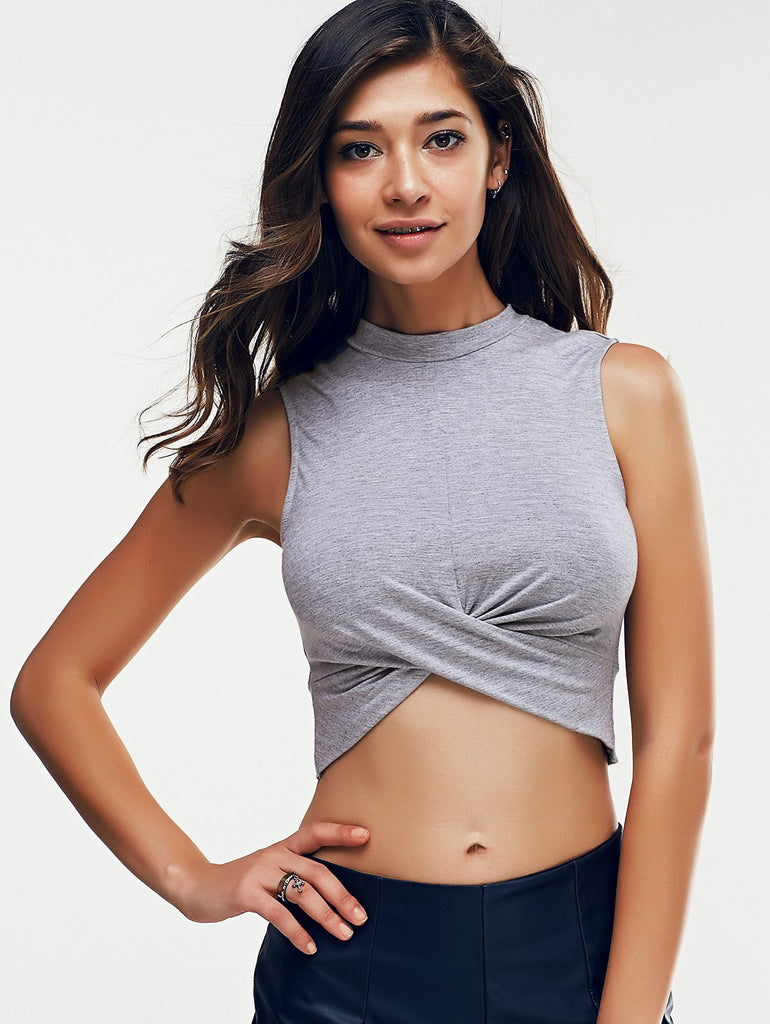 Stylish Round Neck Cross Pure Color Crop Top