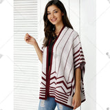 Fashionable Collarless Batwing Sleeve Cardigan For Women