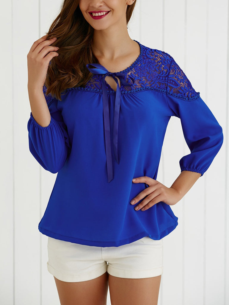 Tie Hollow Out Lace Splicing Blouse