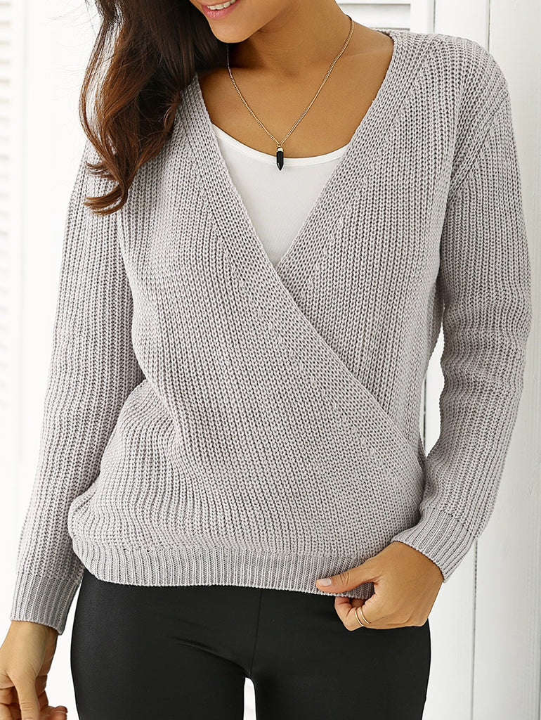 Plunging Neck Loose-Fitting Sweater