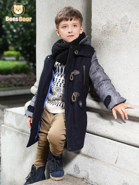 Stylish Hooded Horn Button Thicken Wool Coat For Boy