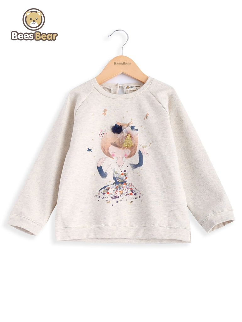 Cartoon Figure Pattern Round Neck Girl's Sweatshirt