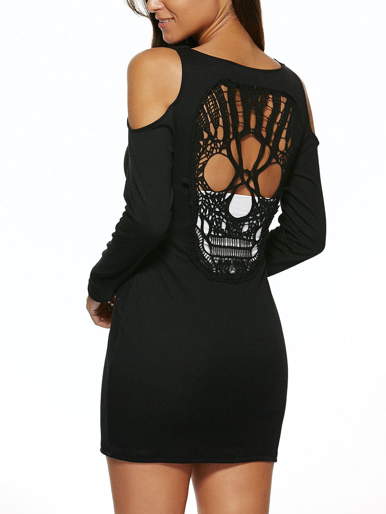 Hollow Out Skull Backless Mini Sheath Dress