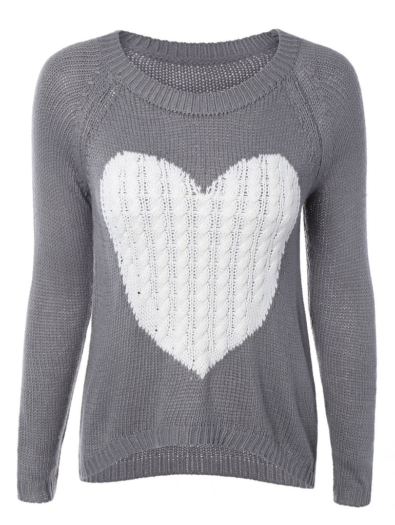 High Low Heart Pattern Sweater