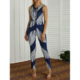 Sleeveless Slimming Feather Print Jumpsuit