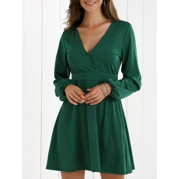 Low Cut Fit and Flare Dress