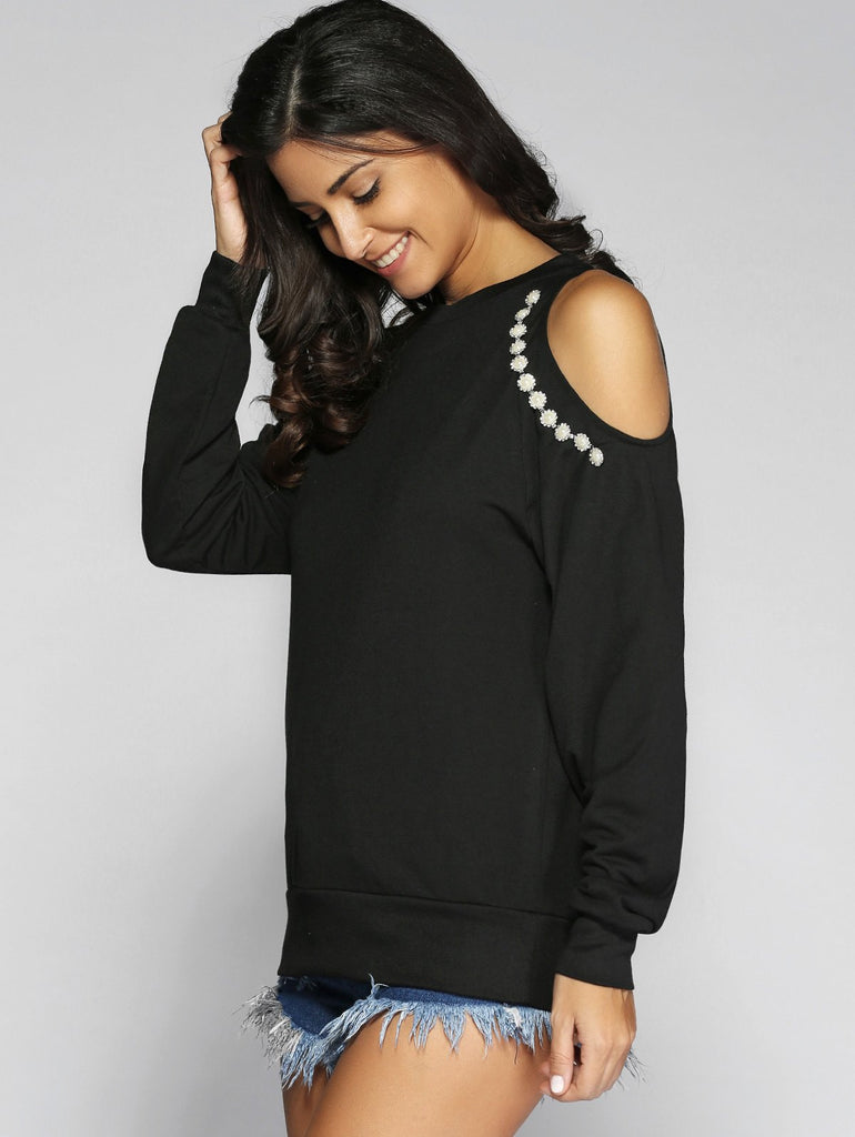 Beading Cut Out Long Sleeve Sweatshirt