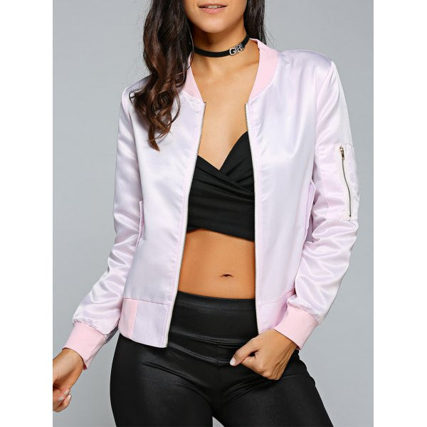 Zip Satin Bomber Jacket
