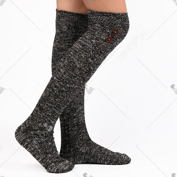 Casual Buttons Snowflake Point Knit Stockings