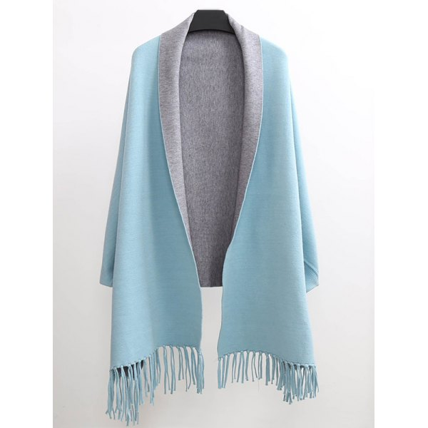 Winter Tassel Lapel Sleeved Cape Pashmina - Light Blue One Size(fit Size Xs To M)
