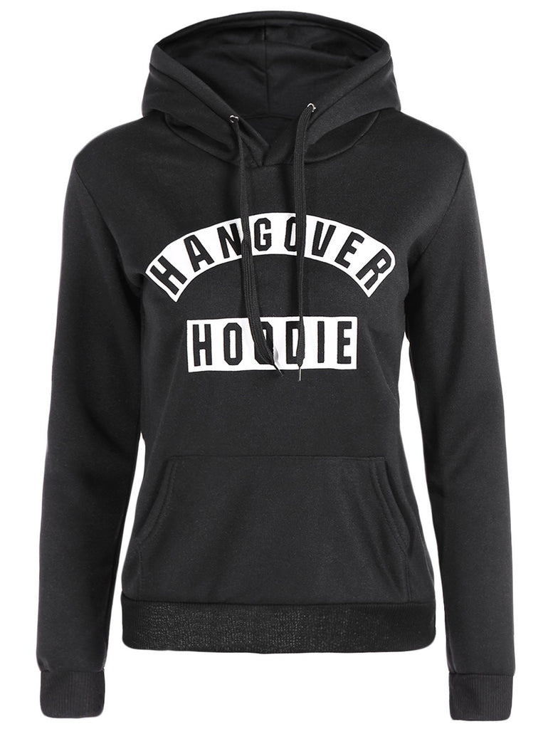 Hooded Long Sleeve Letter Print Front Pocket Hoodie