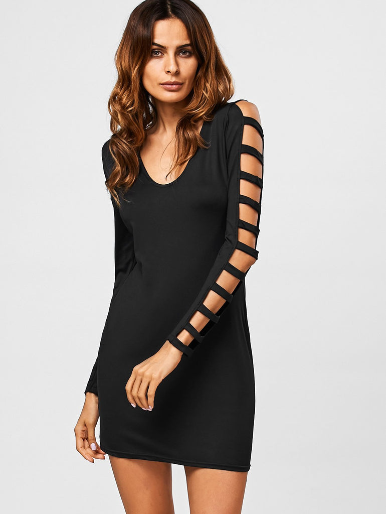 Hollow Out V Neck Bodycon Mini Dress