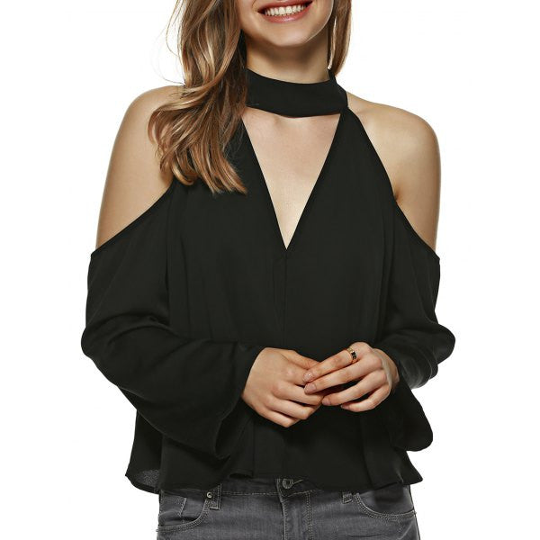 Fashionable Cold Shoulder Black Blouse