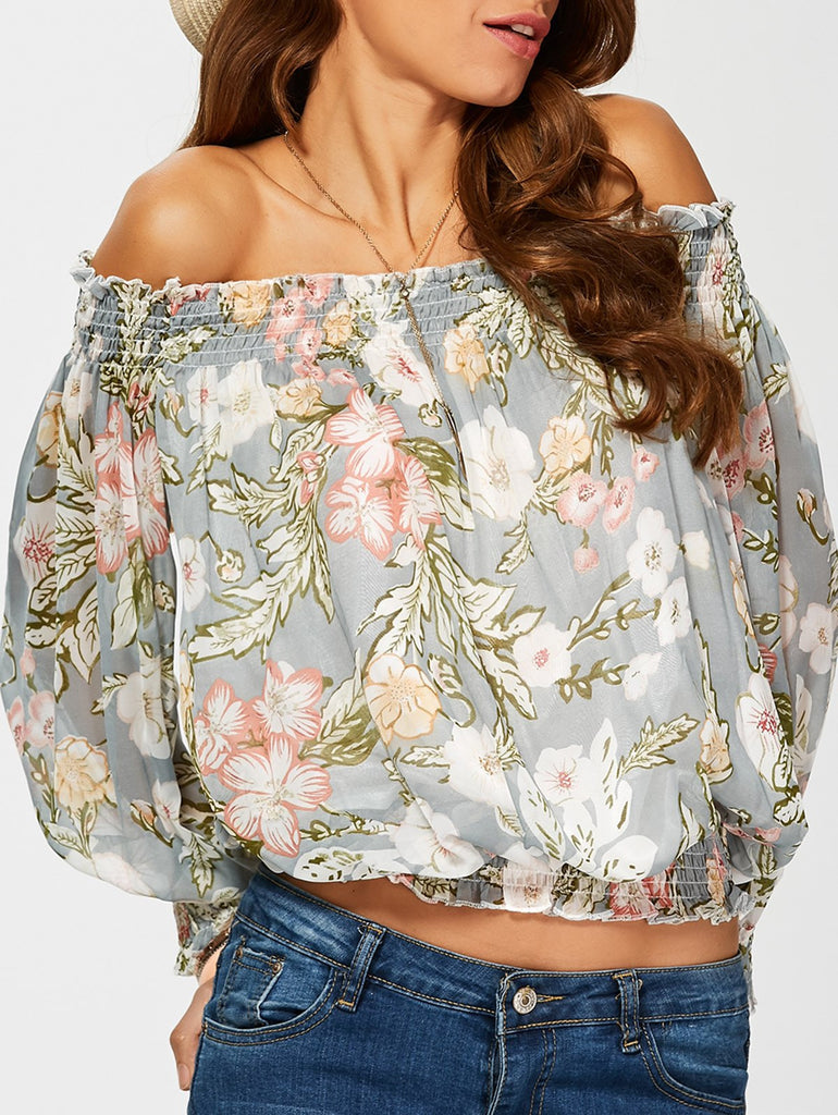 Chiffon Off The Shoulder Floral Print Blouse