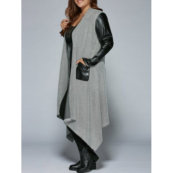 PU Patchwork Asymmetrical Coat