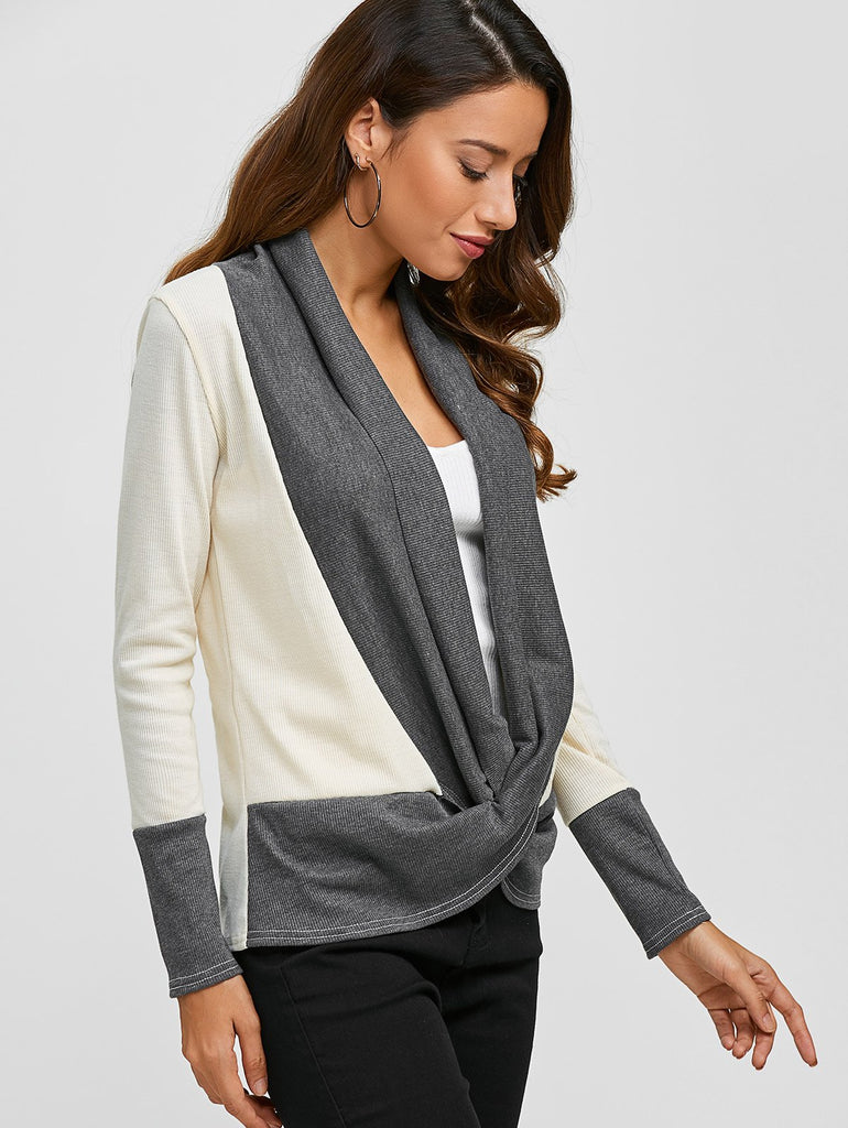 Color Block Criss Cross Blouse - Off-white