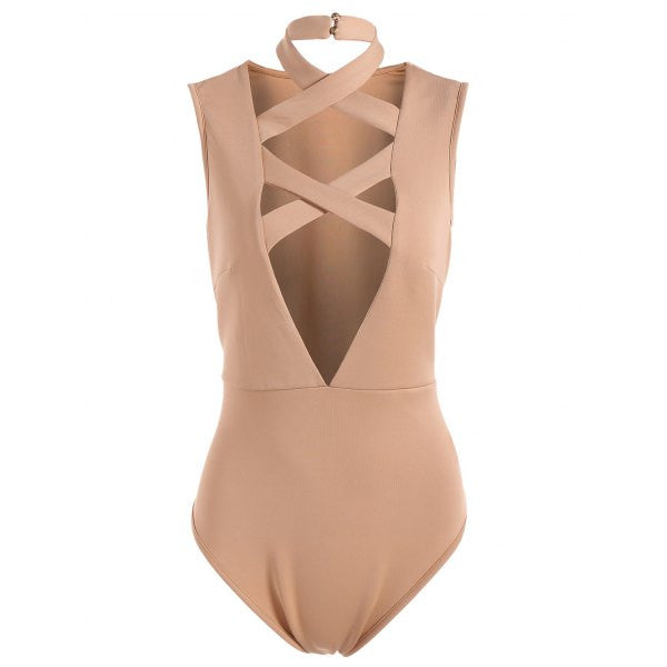 Sleeveless Tight Fit Plunge Bodysuit