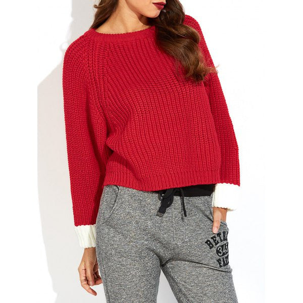 Color Block Slit Ribbed Sweater