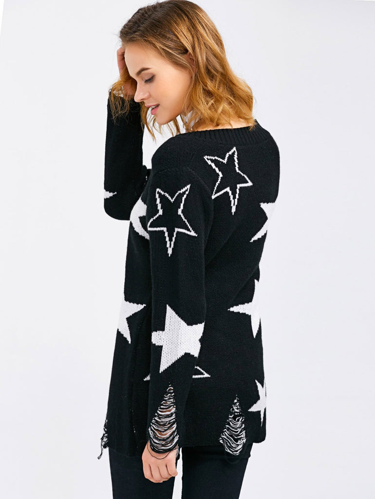 V Neck Star Jacquard Distressed Sweater