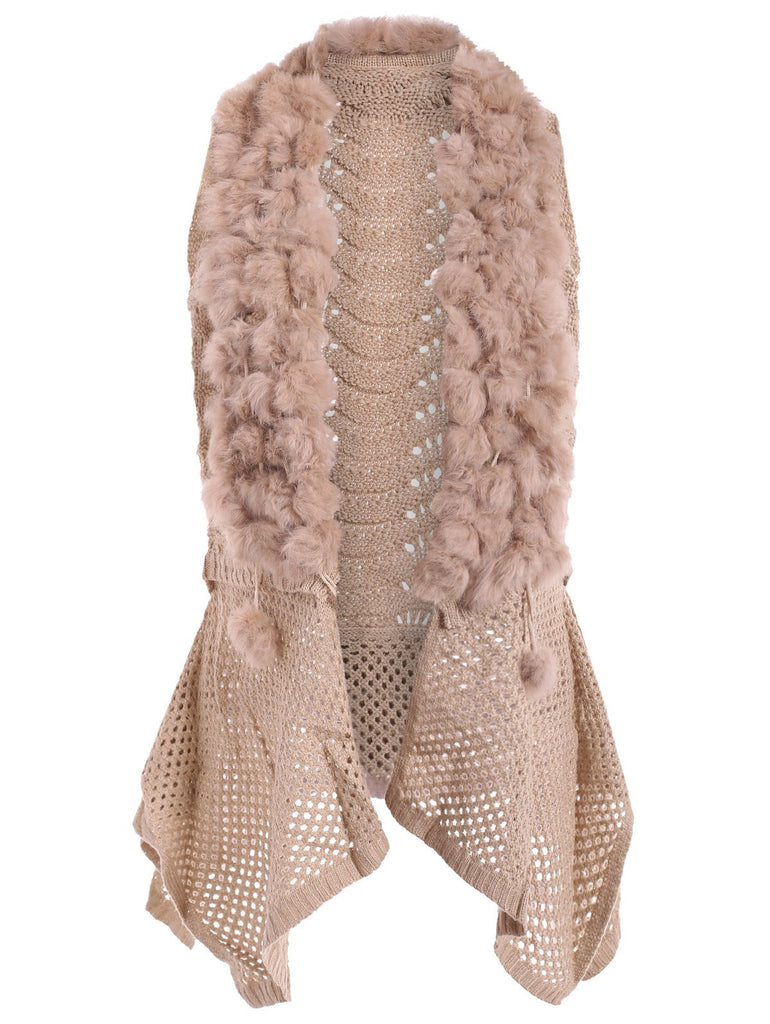 Open Front Faux Fur Embellished Cardigan