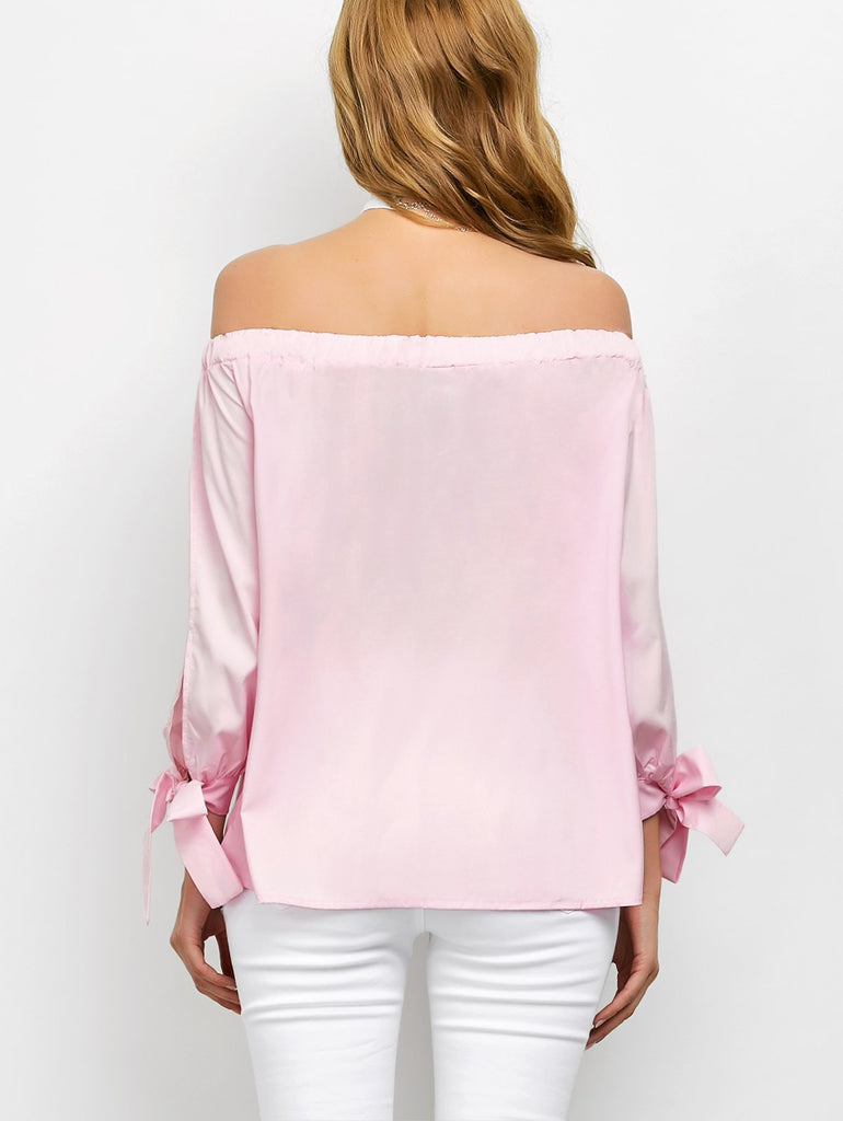 Off The Shoulder Split Sleeve String Blouse