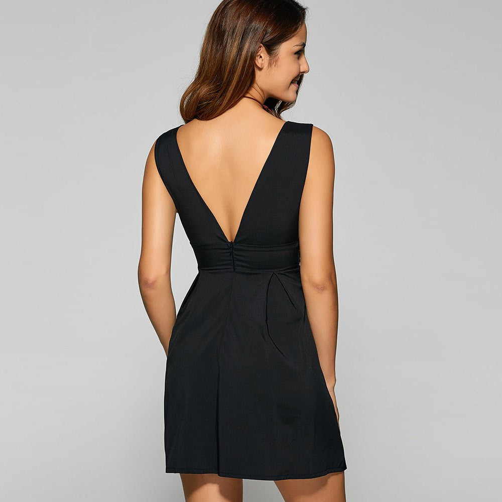 Backless Embroidered Plunging Neck Party Dress