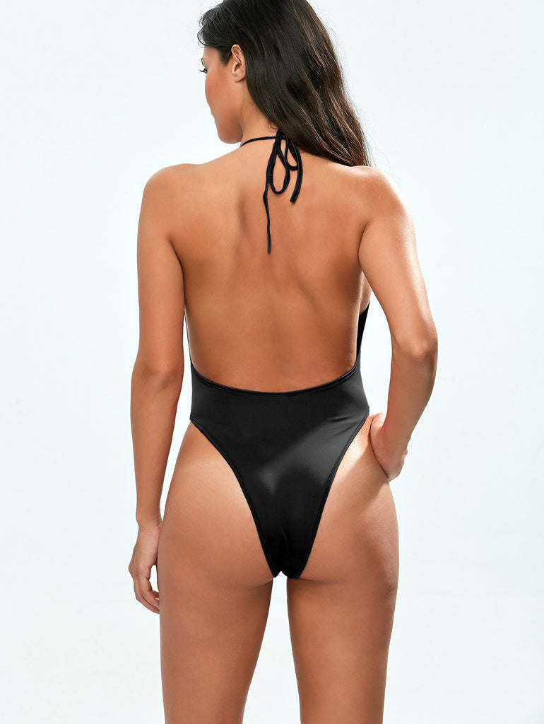 Backless Low Cut Halter One Piece Swimsuit
