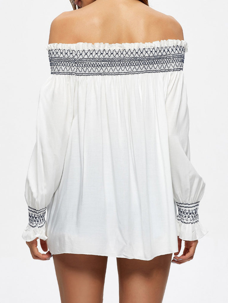 Off The Shoulder Shirred Embroidered Blouse
