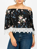 Plus Size Floral Off The Shoulder Lace Panel Top