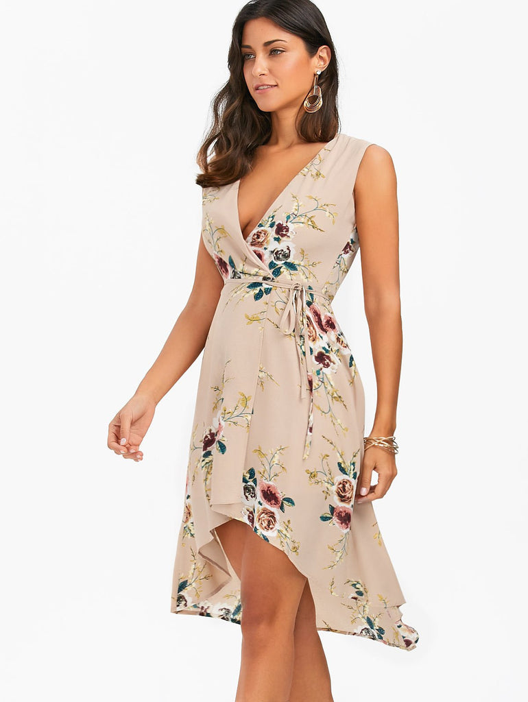 Floral Print High Low Chiffon Dress