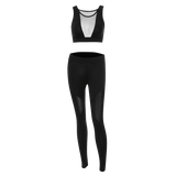 Skinny Mesh Spliced See-Through Sport Suit