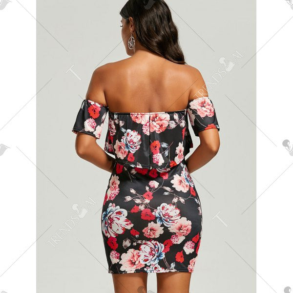 Off The Shoulder Floral Ruffle Bodycon Dress
