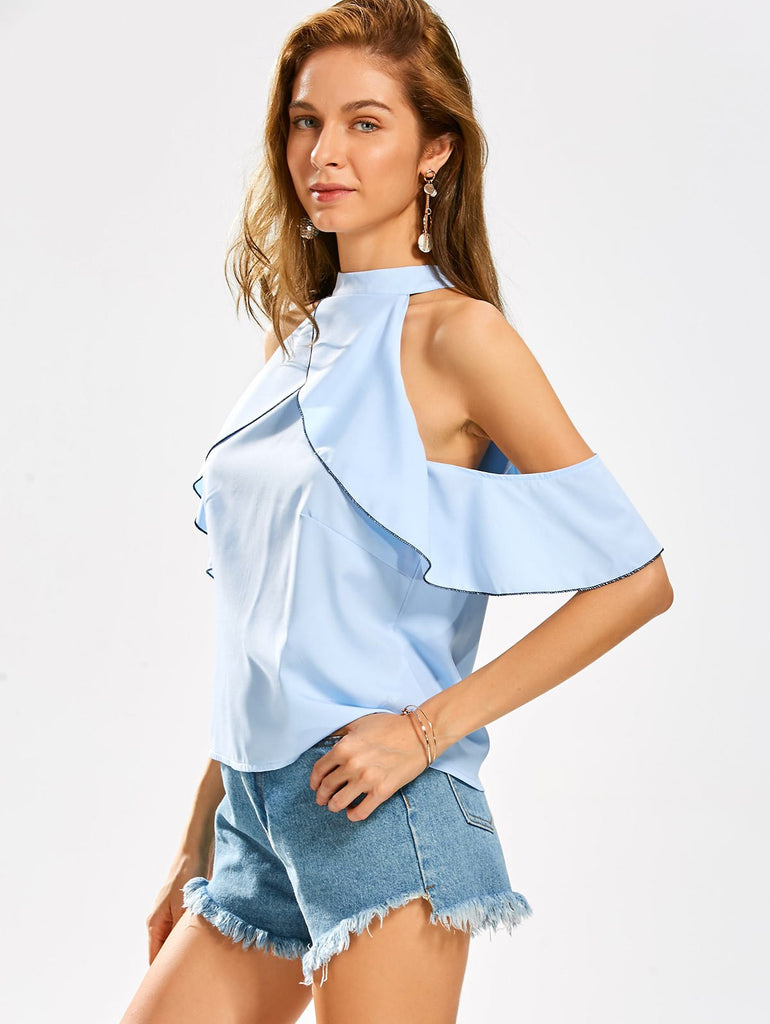 Cold Shoulder Ruffles Stand Collar Blouse
