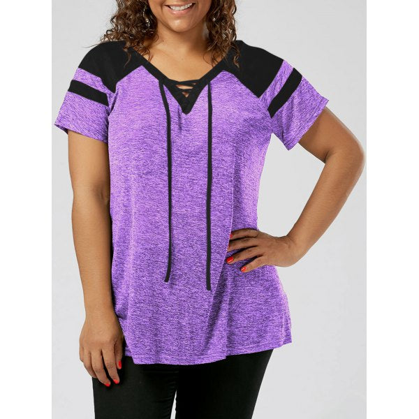 Plus Size Raglan Sleeve Lace Up Top - Black And Grey