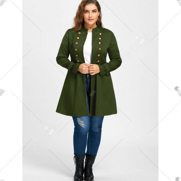 Plus Size Double Breasted Flare Coat