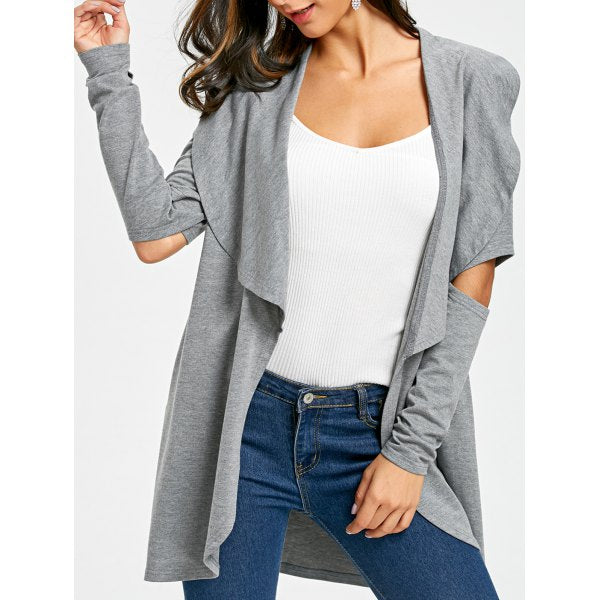 Cutout Elbow Waterfall Cardigan