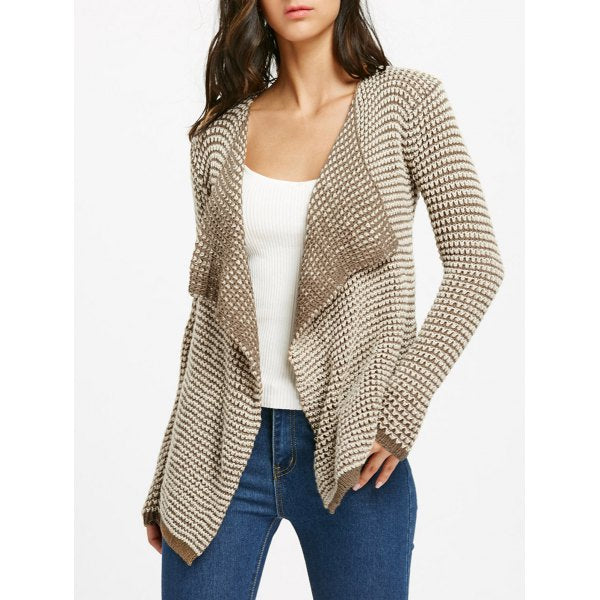 Collarless Long Sleeve Knitted Drape Front Cardigan